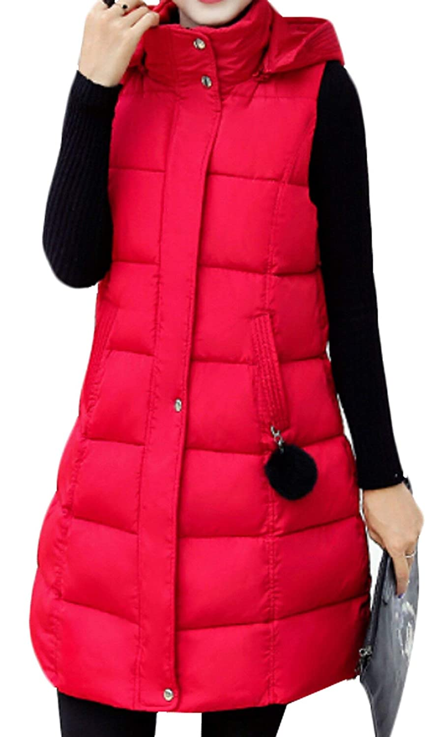 Alion Women's Long Winter Fashion Hooded Down Vest