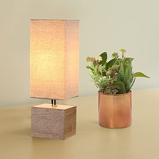 Hompen Table Lamp With Solid Wood Nature Color Base And Square Linen Warm  Grey Shade,