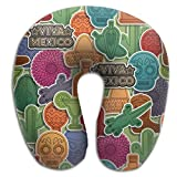 SARA NELL Memory Foam Neck Pillow Mexican Pattern U-Shape Travel Pillow Ergonomic Contoured Design Washable Cover For Airplane Train Car Bus Office
