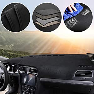 Customized Car Dashboard Cover Protector for Volvo XC60 2013-2018 Loaded Configuration Interior Dashboards Accessories Dash Carpet Black-Black Line 1 Set