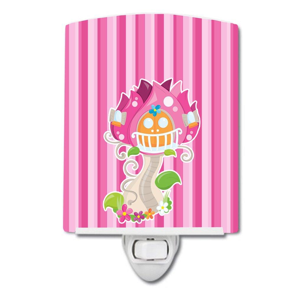 Carolines Treasures Fairy House Stripes Ceramic Night Light Pink 6 x 4