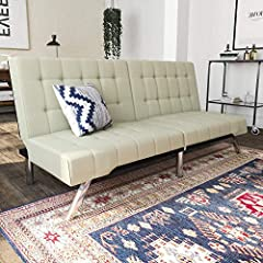 Sleek and stylish with its rounded edges, tufting and chrome legs. DHP's Emily Convertible Futon has a modern look that is fitting for most rooms. The sofa easily adjusts from sitting, to lounging to sleeping positions and features a split ba...