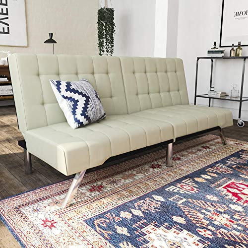 DHP Emily Futon Sofa Bed, Modern Convertible Couch With Chrome Legs Quickly Converts into a Bed, Rich Vanilla White Faux Leather ()