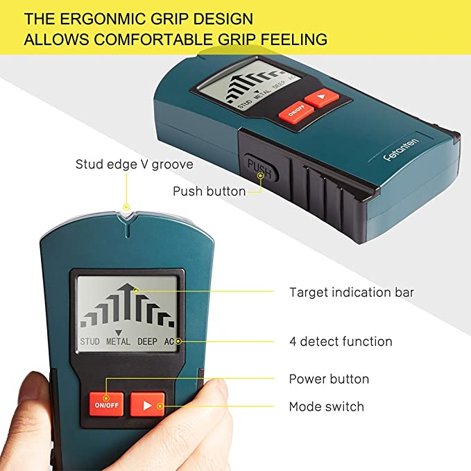 Stud Finder, 4 In 1 Multi-Scanner Edge-Finding Studsensor Detector with with Sound Warming and Dangerous Indication for Metal/Live AC Wire/Wood/Deep ...