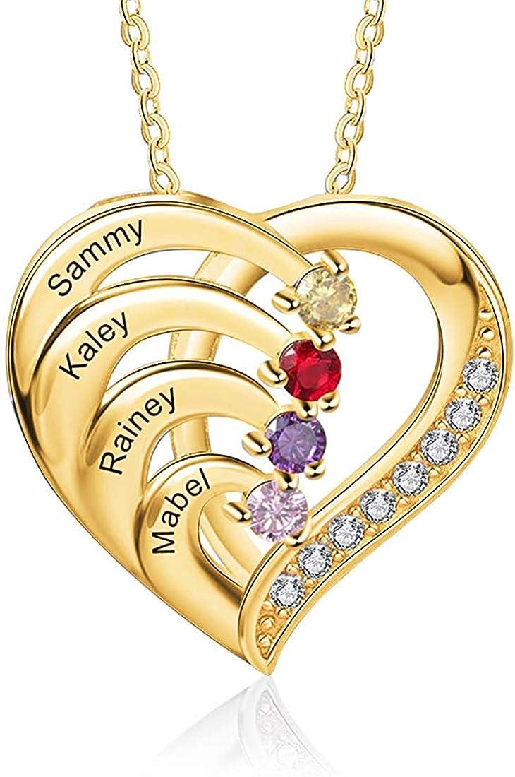 925 Plata Madre Corazón Collar Con 1-4 Piedras Grabado Nombre Aniversario Collar Colgante Para Mujer Cumpleaños Compromiso Collar Del Día De La Madre