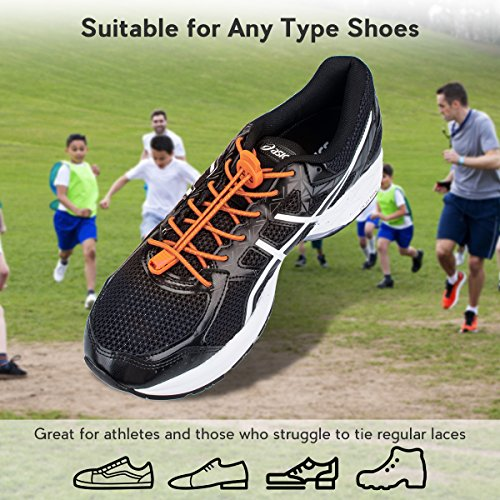 No Quick Adults Lock Shoe for Running 3 Running Hiking with System Pairs Elastic Laces Tie Shoelaces Climbing Shoes Lacing and Kids Orange for Reflective 5Avavwq