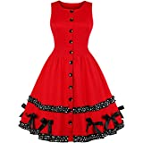 d31b5aab3ad Wellwits Women s Button Down Polka Dots Bow Christmas Red Vintage Swing  Dress