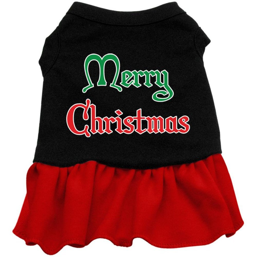 Black with Red Large Black with Red Large Mirage Pet Products 14-Inch Merry Christmas Screen Print Dress, Large, Black with Red