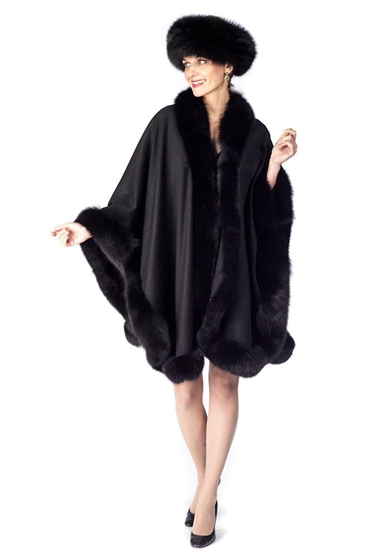 Madison Avenue Mall Womens Cashmere Cape With Fox Fur Trim - Black