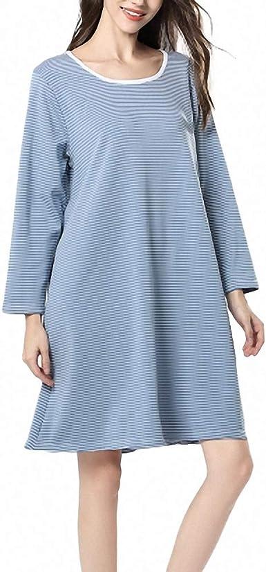 ZREED Camisón para Mujer, camisón Liso Liso Ropa de Dormir ...