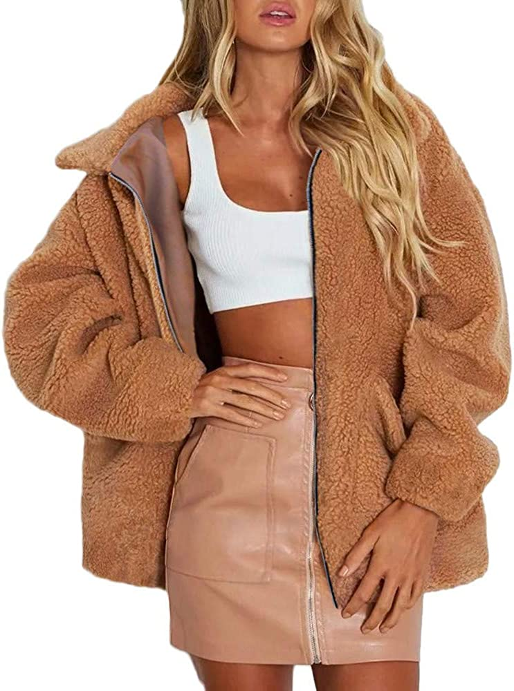 Womens Faux Fur Bomber Jacket Winter NEWONESUN Notch Collar Shearling Coat Boyfriend Casual Outerwear