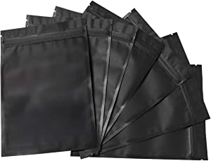 100 Pack Mylar Bags - 5.5 x 7.8 Inch Resealable Foil Pouch Bag Ziplock Bags Food Storage Pouch Matte Black