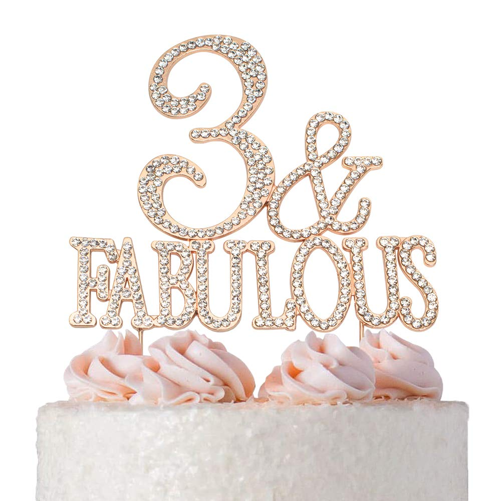 3 and Fabulous ROSE GOLD Cake Topper | Premium Bling Crystal Rhinestone Diamond Gems | 3rd Birthday Party Decoration Ideas | Quality Metal Alloy | Perfect Keepsake