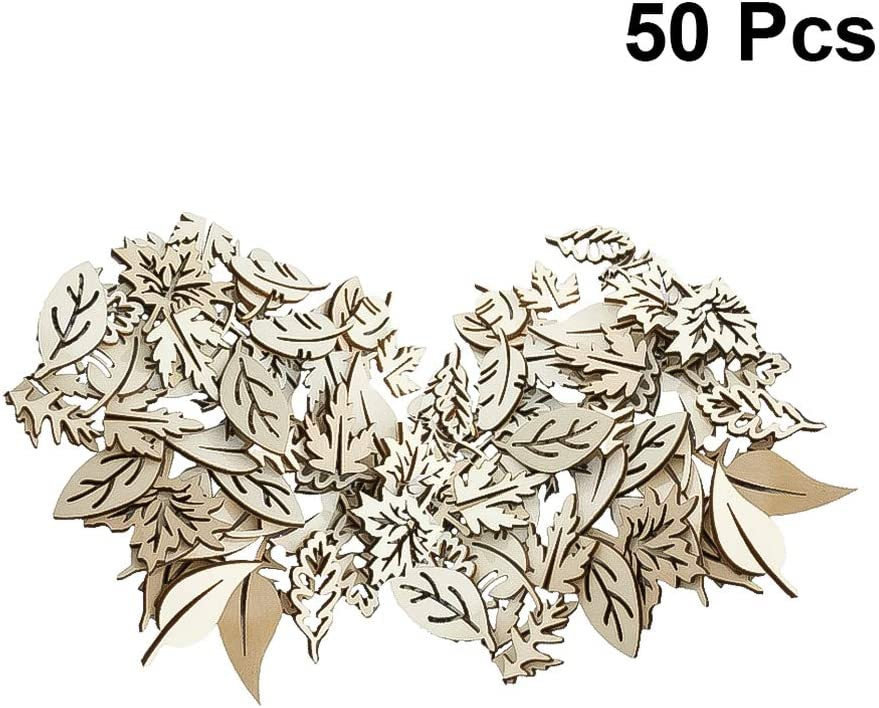 Amosfun Wood Chip Leaves Embellishment Mini Wooden Shape Craft DIY Projects Hollow Wood Slices Cutouts for Decorations Hand Craft DIY 50pcs