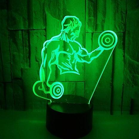 Nightlight 3D Fitness con mancuernas, 7 colores LED Lámpara de ...