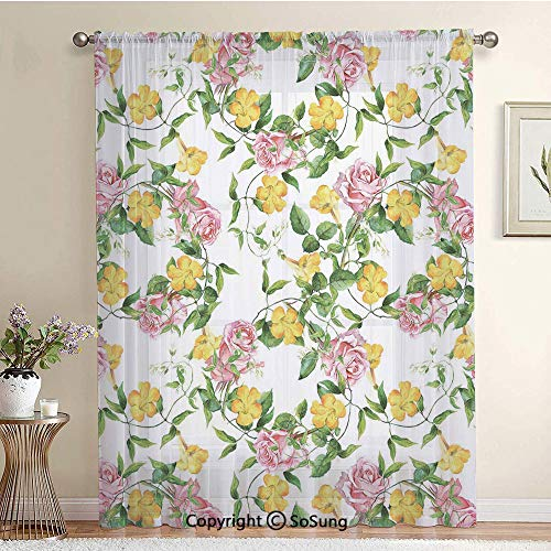 (Flourishing Bindweed and Pink Roses Leaves Botanical Nature Extra Wide Sheer Window Curtain Panel for Large Window,Sliding Glass Door,Patio Door,1 panel,102 x 84 Inch,Jade Green Yellow Baby Pink)