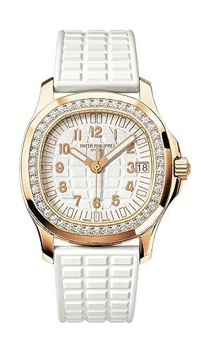 PATEK PHILIPPE Ladies Aquanaut Rose Dorado Diamante Bisel Correa De Goma Color blanco: Patek Philippe: Amazon.es: Relojes
