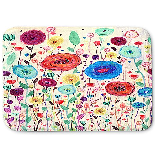 DiaNoche Memory Foam Bathroom or Kitchen Mats by Sascalia - Blushing Blooms Version ()