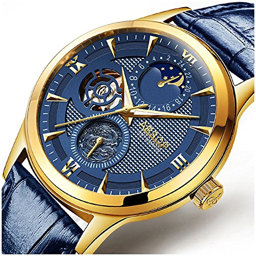 Mens Automatic Mechanical Watch Moon Phase Gold Plated Case Skeleton Male Waterproof Leather Wristwatch (Automatic Swiss Mens Wrist Watch)