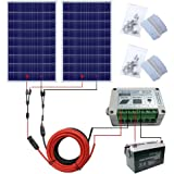 ECO-WORTHY 200 Watts Solar Panel Kit Off-Grid: 2pcs 100W Poly Solar Panel + Solar Cable Adapter + 15A Charge Controller + Z Mounting Brackets +100Ah 12V Sealed Lead-Acid Battery