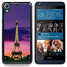 For HTC Desire 626 & 626s - tower architecture lights sky night Paris /Design Hard Plastic Protective Case Slim Fit Cover/ - Super Marley Shop -