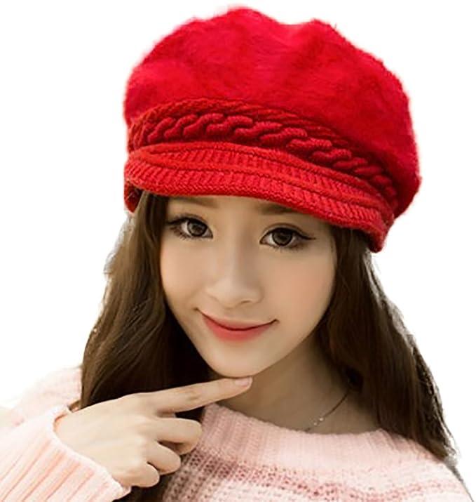 2b7aece76d6 YI HENG MEI Faux Rabbit Fur Beanie Hats with Visor Cute Baseball Hat Cancer  Warm Headwear for Winter