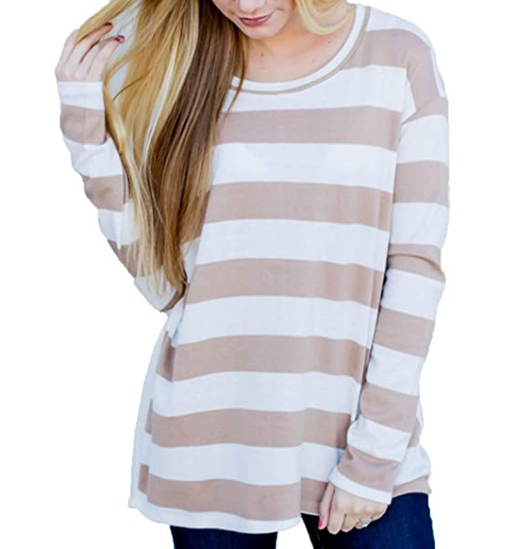 Simple-Fashion Casual Cuello Redondo Manga Larga Básico Camisetas Jumpers Blusas Primavera y Otoño Mujeres
