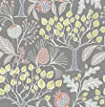 NuWallpaper NU3039 Groovy Garden Grey Peel & Stick Wallpaper Multicolor