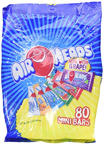 AirHeads 80 Mini Bars Fun Taffy Candy Assorted Fruit Flavors 32.17oz (912g) air heads Airheads Taffy Candy Bars