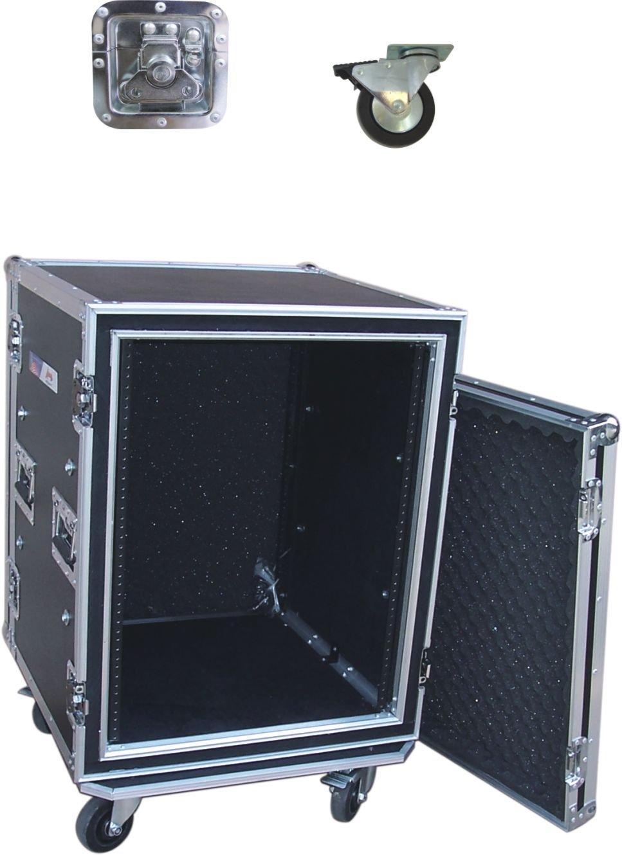 Audio Dynamics Pro 14U Space DJ ATA Shock-Proof AMP Rack Flight Road Case For 19-Inch Rack - 20'' Inside Depth - With Heavy-Duty Wheel Casters