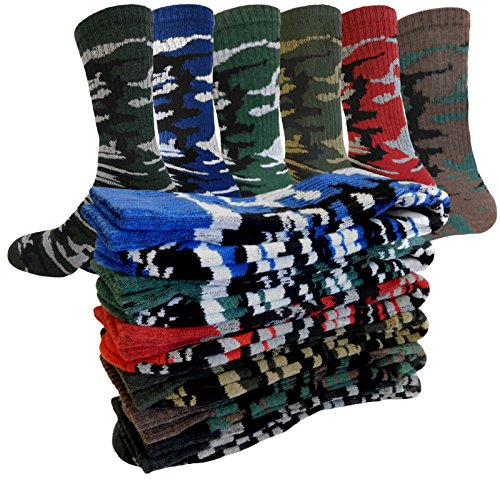 CAMOUFLAGE SOCKS SPORTS HEAVY CASUAL OR OUTDOOR 6-PAIRS SIZE 10-13 SOCKS