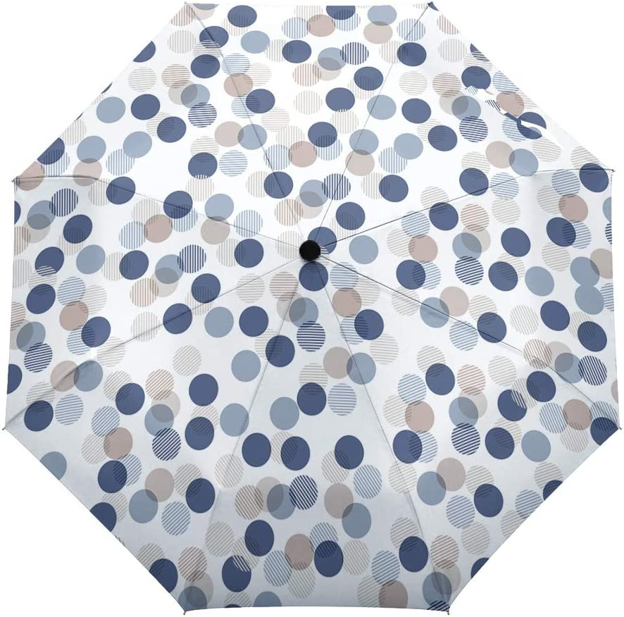 Travel Umbrella Windproof-White Blue Wave Point,Durable Folding Compact Umbrella for Outdoor Rainy Use Auto Open and Close Button