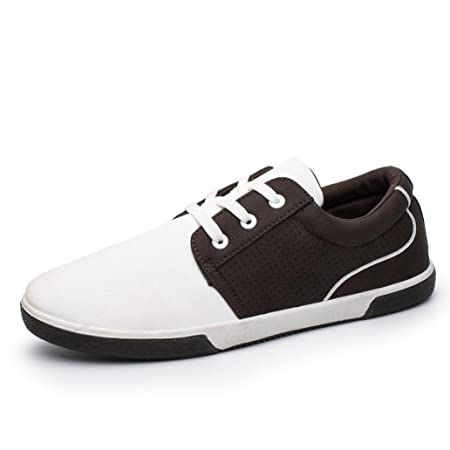Amazon.com: Hemlock Flat Shoes Mens, Mens Casual Shoes Sport Shoes Men Lace Up Loafers Moccasins Male Shoes (US:6.5, White)