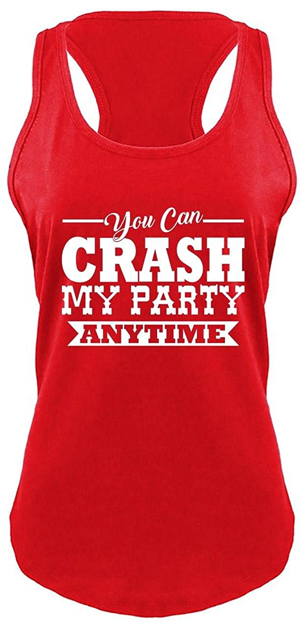 0b7a9a82279380 Amazon.com  Comical Shirt Ladies Crash My Party Anytime Shirt Country Song  Concert Racerback  Clothing