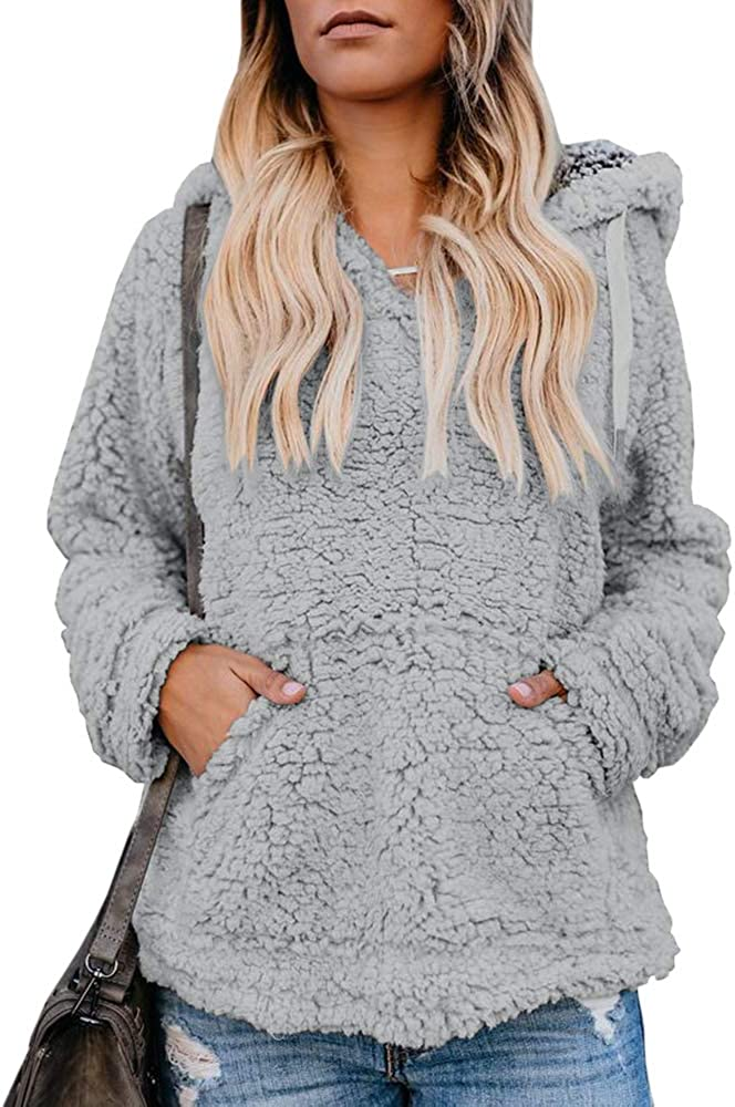 Chuanqi Womens Sherpa Pullover Hoodie Fuzzy Chunky Sweatshirt Oversized Winter Hooded Coats with Pockets