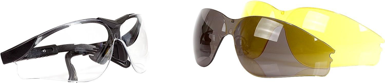 Occhiali di Protezione con Lenti Intercambiabili Chiaro Grigio e Giallo e con Scatola Viwanda