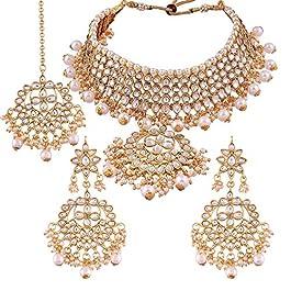 Aheli Indian Traditional Maang Tikka with Kundan Necklace Earrings Set Ethnic Wedding Party Designer