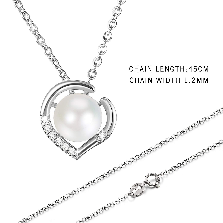 8ca9e740f968f Bijoux Fantaisie Collier Pendentif Perle Argent 925 Zircon Femme Forme  Coeur Cadeau Femme Fille Petite Aime ...