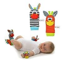 Daorier Bébé jouets hochet - Bébé Hochet 4 PCS Chaussettes doux poignet Bell sangle hochets 0-6 mois bébé appliquer