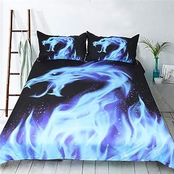 R S 3d Drucken Bettbezug Sets Blaue Flamme Leicht Polyester Weich