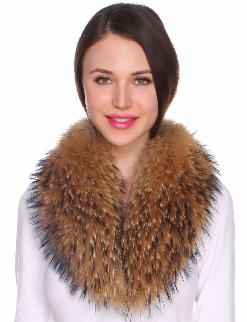 Ferand Women's Detachable Genuine Raccoon Fur Collar Scarf for Parka Jacket Winter Coat in Dark Natural Color,31.5 inch by Ferand