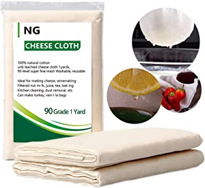 NUOBUNG - Cheesecloth, Grade 90, 100% Unbleached Organic Cotton Ultra Fine Cheese cloth, Food gauze, Muslin for cooking, Cheesemaking, Cheese bag, Straining cloth (9 Sq Feet/Grade 90-1Yards)
