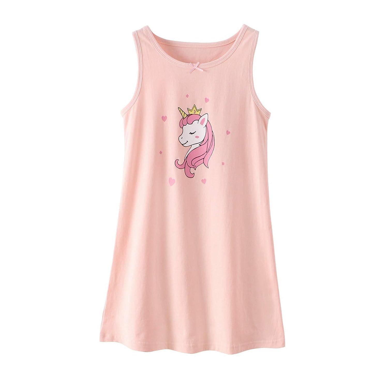 BLOMDE Camicia da Notte Unicorno delle Ragazze Indumenti da Notte di Cotone per 3-12 Anni