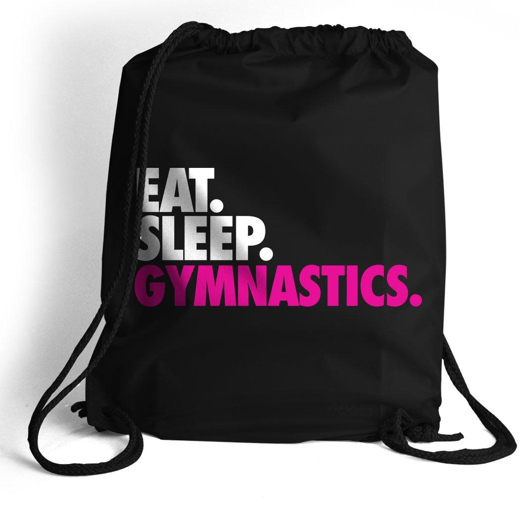 Eat. Sleep. Gymnastics. Cinch Sack | Gymnastics Bags by ChalkTalk SPORTS | Black
