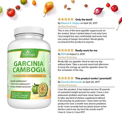 Natrogix Pure 95% HCA Garcinia Cambogia Extract 1400mg Most Potent Natural Appetite Suppressant & Weight Loss Supplement for Women and Men Infused with Potassium & Calcium