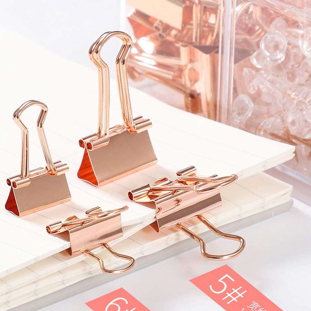nuoshen Rose Gold Office Stationery,50 Map Push Pins,100 Paper Clips 21 Paper Binder Clips with Clear Box for Office Class School
