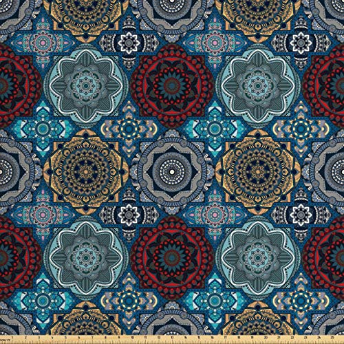 Ambesonne Moroccan Fabric by The Yard, Patchwork Style Vintage Ottoman Inspiration Retro Motifs, Decorative Fabric for Upholstery and Home Accents, 3 Yards, Brown Blue
