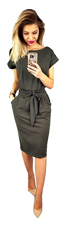 Longwu Women's Elegant Short Sleeve Wear to Work Casual Pencil Dress with Belt Dark Grey-L