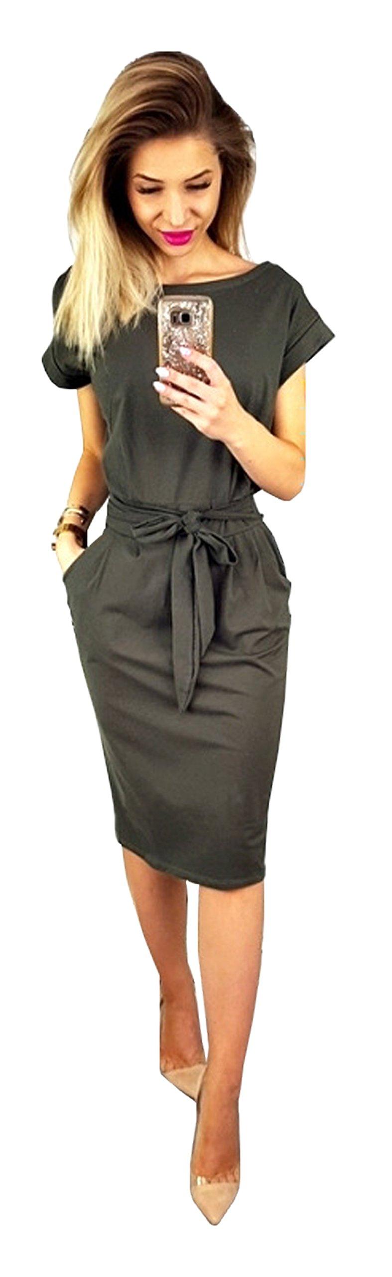Longwu Women's Elegant Short Sleeve Wear to Work Casual Pencil Dress with Belt Dark Grey-3XL