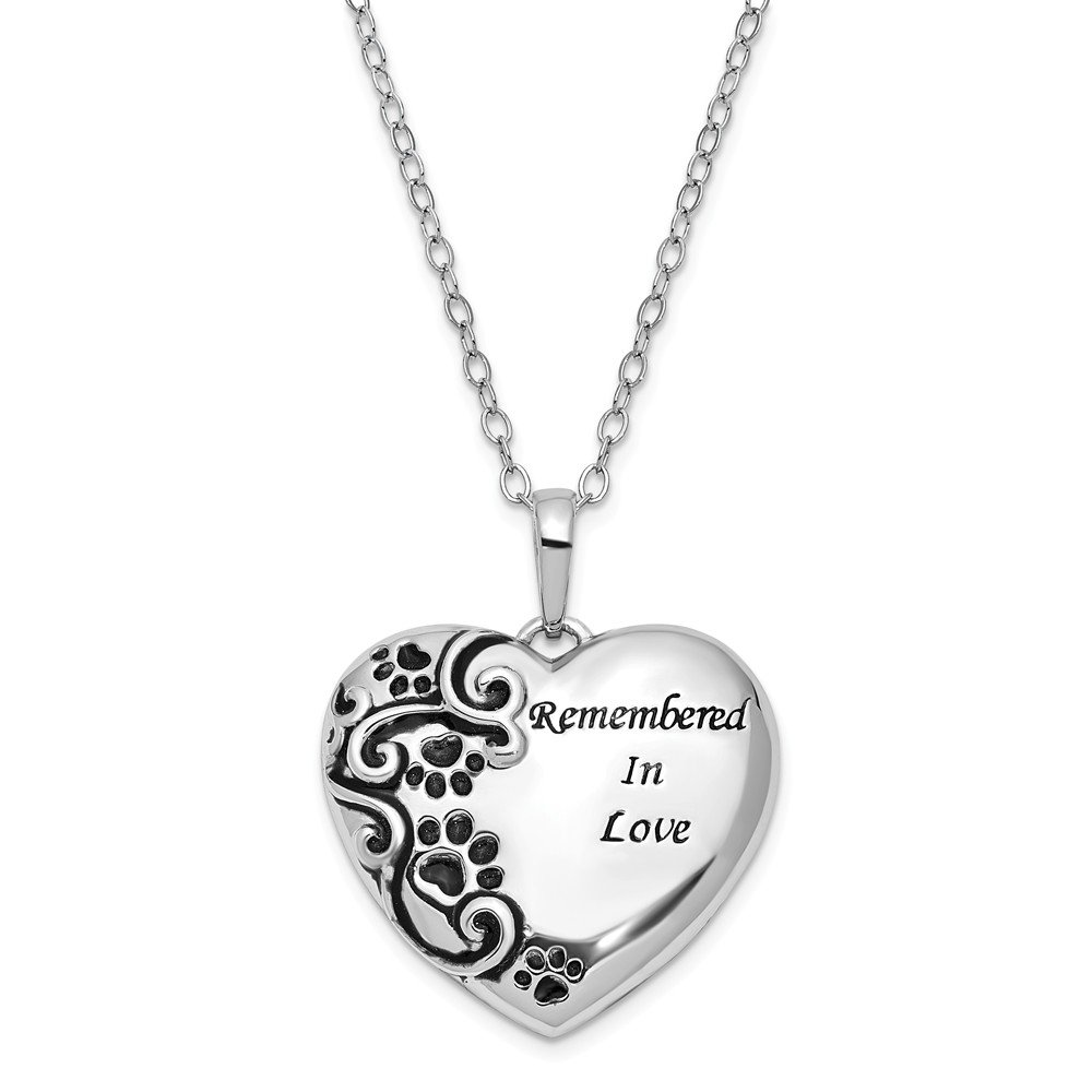 Jewelry Best Seller Sterling Silver Antiqued Remembered in Love Pet 18in. Necklace